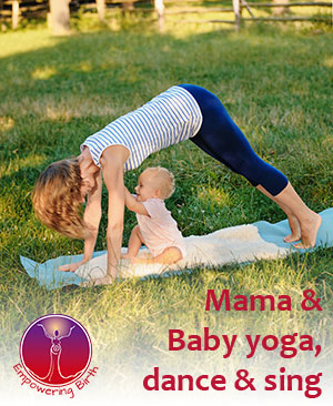 Mama and baby yoga, dance and sing